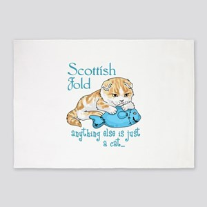 Scottish Fold Cat 5'x7'Area Rug